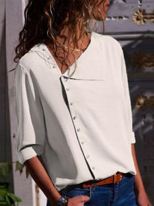 Button Irregular Diagonal Collar Long Sleeve Blouses
