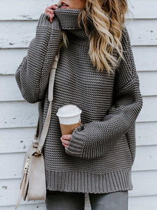 Thick Line Long Sleeve High Neck Pullover Knit Sweater