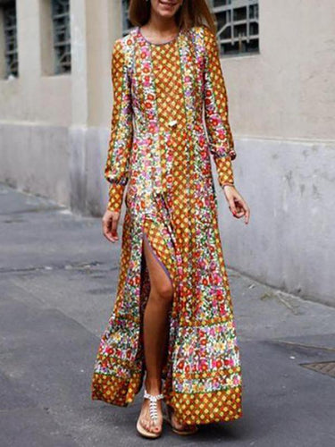 Fashionable Vintage Printed Autumn Yellow Dress
