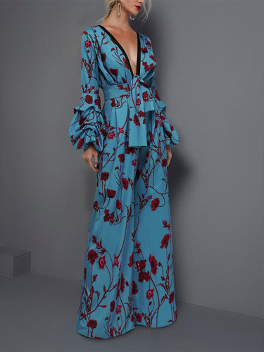Sexy Deep V Collar Floral Printed Elastic Waist Evening Jumpsuit