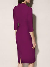 V-Neck  Plain Bodycon Dress