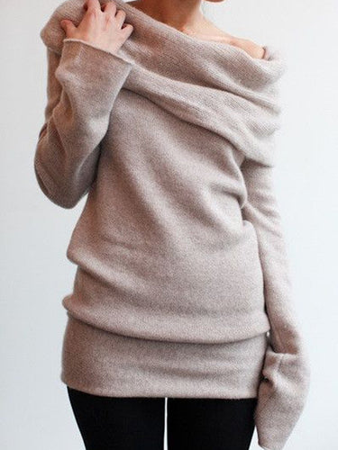 Off Shoulder Turtleneck Sweater
