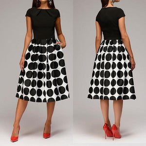 Fashion Polka Dot Printed Short Sleeve Midi Skater Dress
