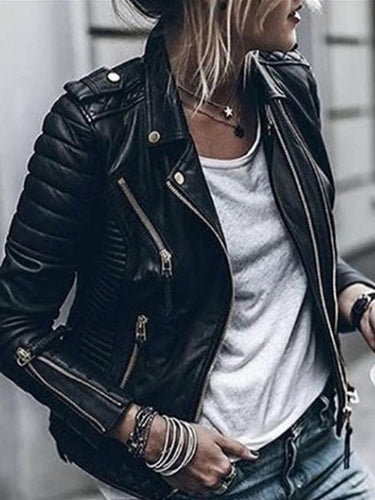 Fashion Lapel Button Zipper Long Sleeve PU Jackets