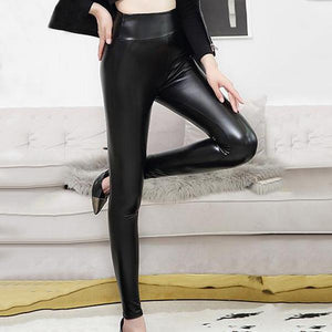 Sexy High Waist PU Bright Leather Underpants