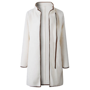 A Stylish High-Collar Zipper Button Long-Sleeved Shirt Cardigan