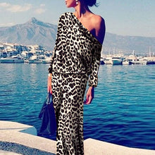 Sexy Leopard Print Long Sleeve Maxi Dress