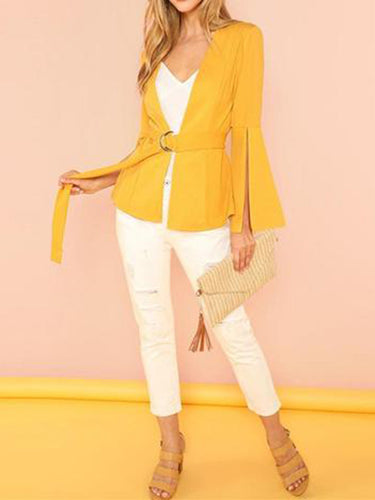 Fashion V Neck Bell Sleeve Solid Color Bandage Outerwear