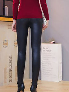 Cutout Elastic Waist Patchwork  Plain Leggings