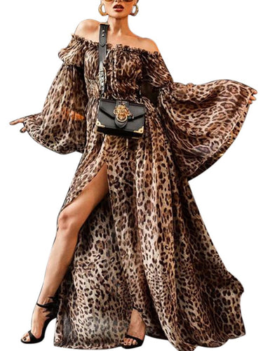 Women's Off-The-Shoulder Sexy Leopard Print Trumpet Sleeve Dress
