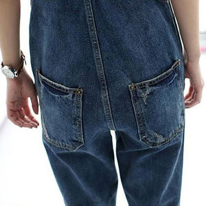 Women's Broken Denim  Overalls