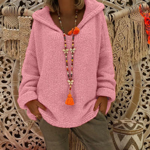Hooded Plain Loose Long Sleeve Knitting Sweaters