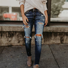 Ripped Jeans Wear White Trim Pants