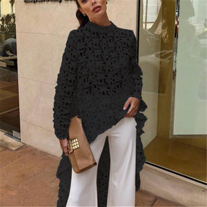 🔥Flash Sale Fashion Sexy Hollow   Lace Long Sleeve Irregular Top