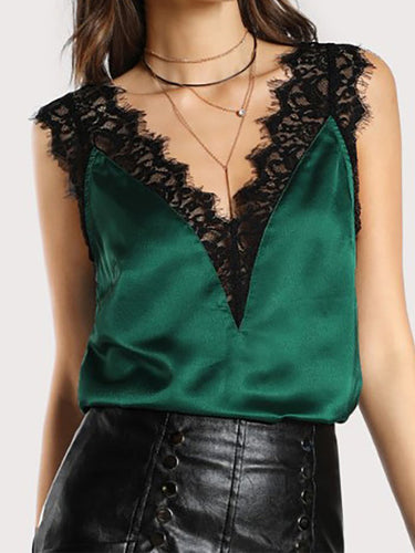 Deep V-Neck  Cutout Decorative Lace Ruffle Trim See-Through  Crochet  Lace Sleeveless T-Shirts