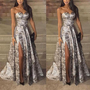 Sexy Silver Sleeveless  Sequins Fishtail Evening Dress