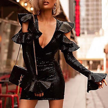 Fashion Hollow Out Bell Sleeve Deep V Sequins Bodycon Dress