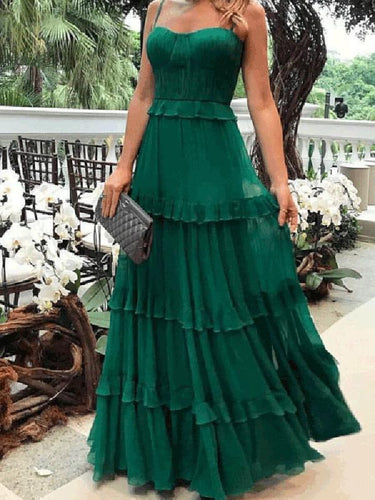 Elegant Spaghetti Straps Plain Falbala Evening Dress
