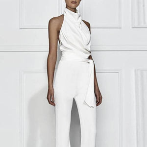 Fashion Solid Color Sleeveless Stant Collar Jumpsuit
