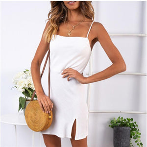 Fashion Solid Color Sexy Shoulder Straps Dress