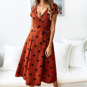 Sexy Wave Point V Neck Short Sleeve Dress