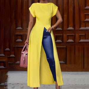 Fashion Round Neck Short Sleeve High Slit Zipper Solid Color Sexy Blouse