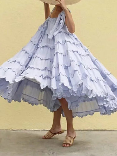Vintage Square-Cut Collar Ruffled Belted Splicing Pleated Dress
