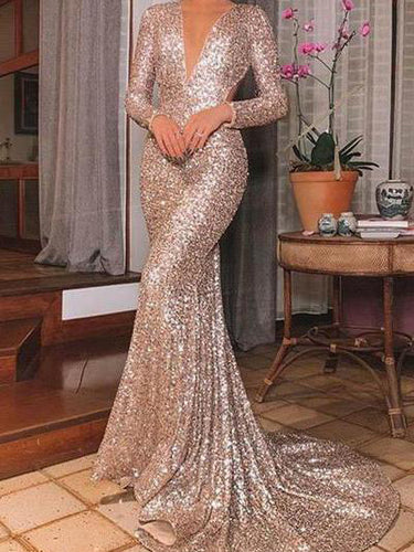 Fashion V Neck Pure Color Sequins Long Sleeve Dress