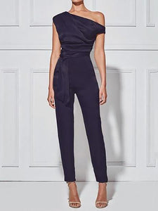 Women's Classy Commuting Sloping Shoulder Jumpsuit