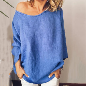 Solid Color Round Neck Loose Pullover Long Sleeve Shirt