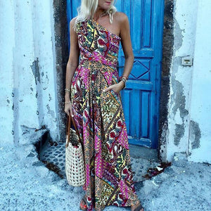 Sexy Sleeveless One Shoulder Print Slim Casual Vacation Maxi Dress