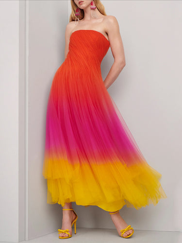 Sexy A Word Collar Sleeveless Stitching Color Evening Maxi Dress