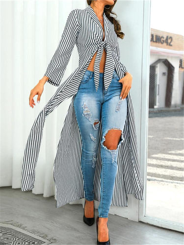 Sexy Striped Bow Long Sleeve Long Cardigan