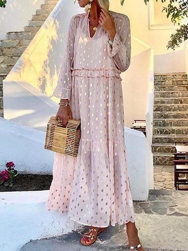 Romantic Fashion V-Neck Metallic Color Dot Printed Long-Sleeved Slim Casual Maxi Dresses