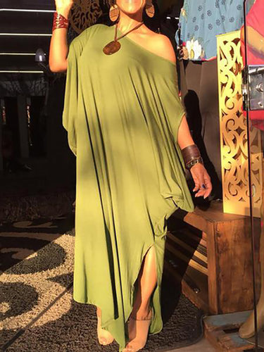 Women's Solid Color Slanted Shoulder Slit Maxi  Dress