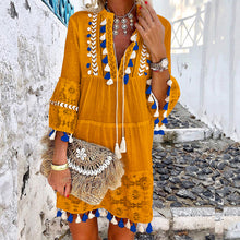 V-Neck Lace Fringe Vacation Casual Mini Dress