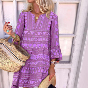 Boho Three Quarter Flared Sleeve Loose Print Dress