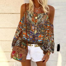 Bohemian Strapless Shoulder Sling Print Shirt