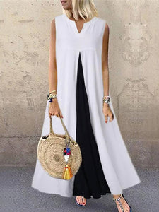 Europe And America Style V Neck Sleeveless Pure Colour Splicing Dress