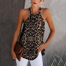 Women's Hanging Neck Sleeveless Leopard Camis