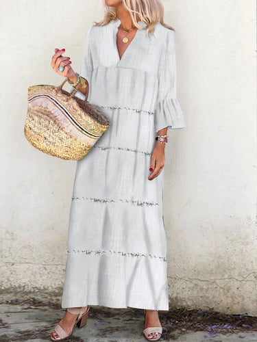 Casual Pure Colour Splicing Vacation Maxi Dress