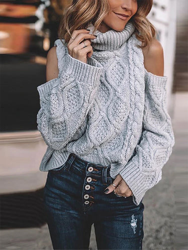 Sexy Off-The-Shoulder High Collar Sweater