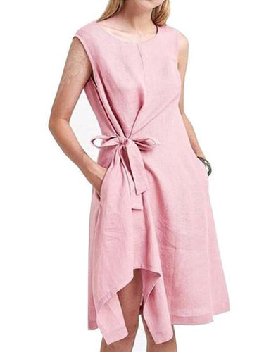 Casual Round Neck Sleeveless Pleated Belted Pure Colour Bowknot Dress