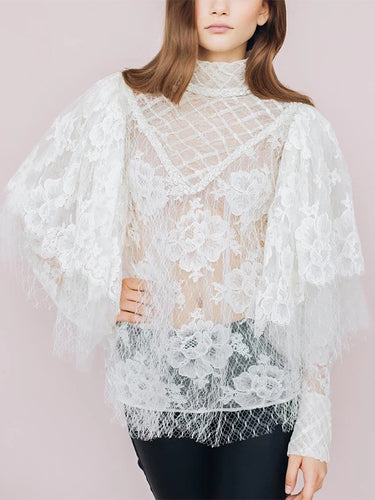 Vintage  Irregular Sleeve Lace Pure Colour Blouse