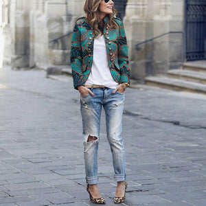 Fashion Stand-Up Metallic Buckle Print Jacket