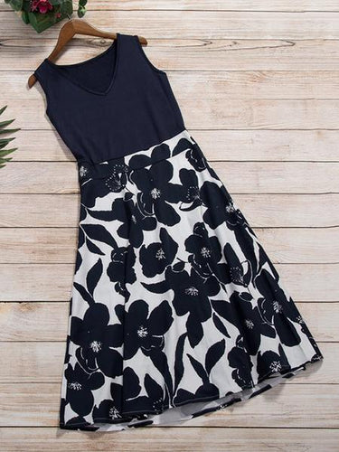 Summer Vintage V-Neck Floral Printed Sleeveless Skater Dress