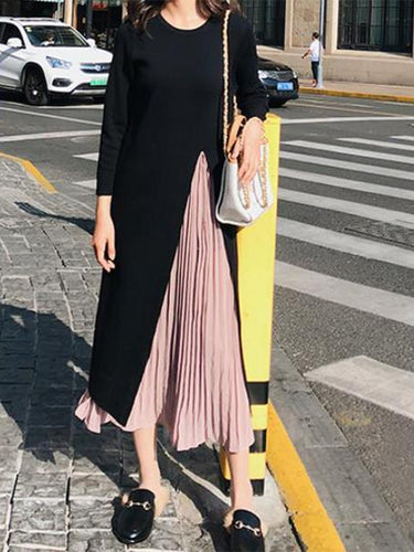 Fashion Round Collar Hem Split Knitted Sweater Fake Two-Piece Maxi Dress
