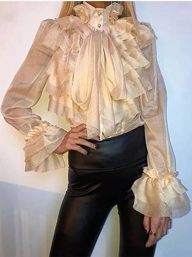 Fashion Sexy Ruffled Ladies Shirt