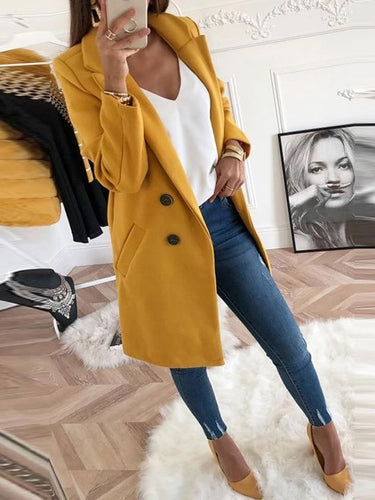 Women's Lapel Long Sleeve Plain Button Pocket Casual Coats