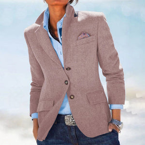 Women's Business Casual Pure Color Lapel Blazer